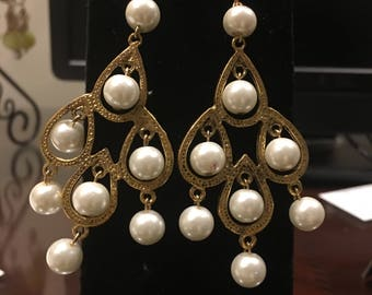 White Pearl Chandeliar Earrings by Dobka