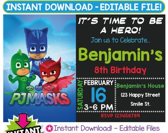 SALE 60% OFF: pj masks Invitation, pj masks Birthday Invitation, pj masks Invitation Instant Download, pj masks Party, Editable Invitation