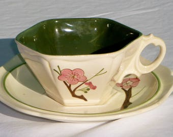 vintage red wing pottery 6 sided teacup and saucer