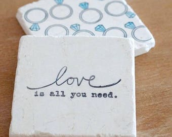 Engagement Gift/ Engagement Marble Coasters/Engagement Ring/Love Coasters/ Drink coasters// Stone Coasters// Tile Coasters// Coaster Set/
