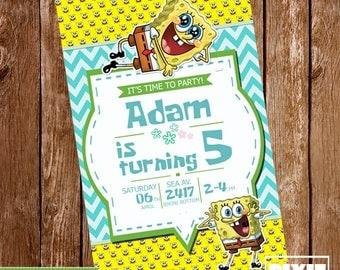 SpongeBob SquarePants Invitation, SpongeBob Birthday Invitation, Sponge Bob Printable Invitation, SpongeBob Invitation, SpongeBob Party