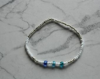 Shades of Blue Seed Bead Bracelet