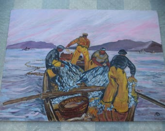 Oil on cardboard canvas/scene of fishing / fundraising nets / after MÉHEUT