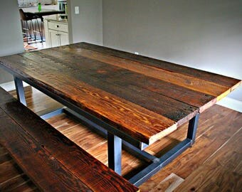 Custom barn wood dining room table with steel base