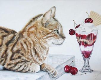 Cat Print, Bengal Cat Print, Limited Edition Print, Bengal Cat Painting, Cat Portrait, Cat Giclee Print