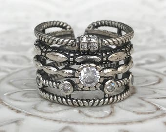 Large Wide Band Cuff Ring Adjustable Oxidized 925 Sterling Silver with Cubic Zirconia Statement ring (1 pc)