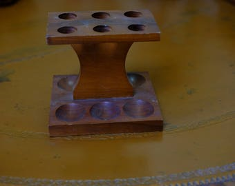 Wooden Pipe Stand - 6 Pipe - Walnut