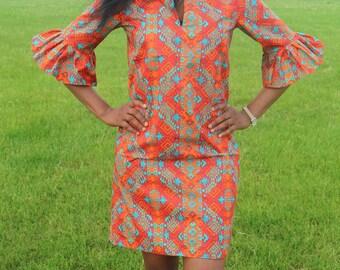 African Print Dress with Bell-sleeves, Yechenu Shift Dress