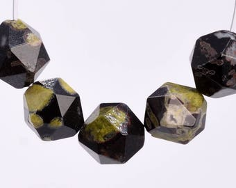 49 / 25 Pcs - 8MM Black and Green Ocean Fossil Jasper Beads Grade AAA Star Cut Faceted Genuine Natural Gemstone Loose Beads (102909)