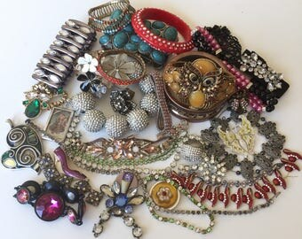 Broken Jewelry Lot Vintage Mod Rhinestone Harvest Repair Upcycle Crafting Rhinestones Costume Jewelry