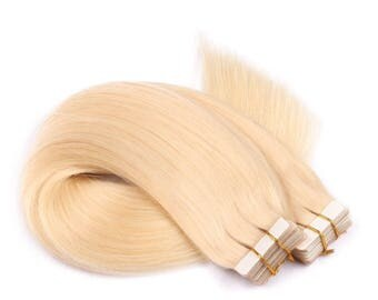 SILKY STRAIGHT Hair tape in human hair extensions - Blond and brown