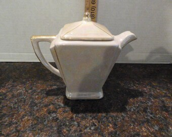 Vintage Square Tea Pot/ cream color luster/ gold trim