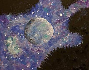Acrylic starry night moon view through mountain trees