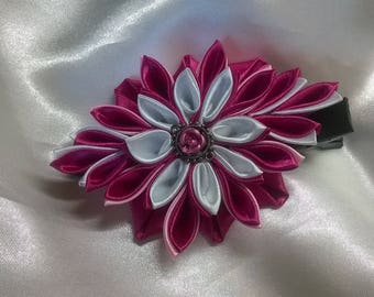 Barrette with flower made of white satin ribbon and fuschia with a pretty heart with a nice steel