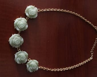 Green Flower Necklace, Green Roses, Gold Tone Necklace