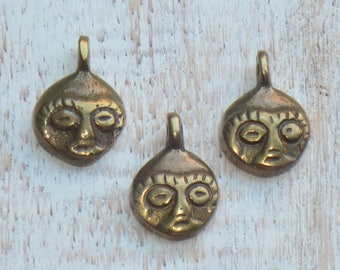 Small Brass Mask Charms/Pendants