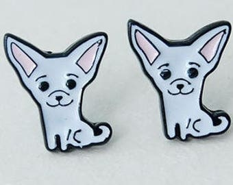 Chihuahua enamel pierced stud earrings.