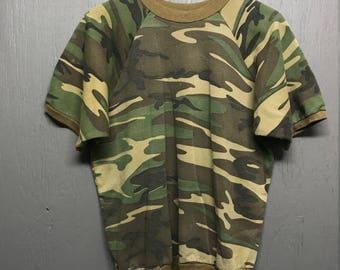 S vintage 80s Woodland Camo s/s sweat shirt