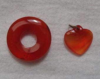 Lot of 2 Carnelian Pendants ~ Estate Jewelry