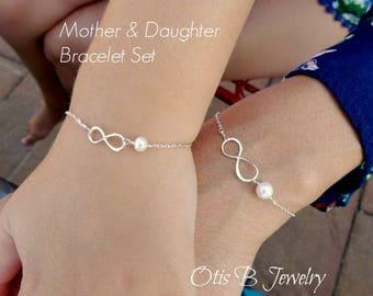 Mother & Daughter infinity bracelet SET, child's infinity pearl bracelet, back to school, preschool gift, sterling silver, gold fill, Otis b