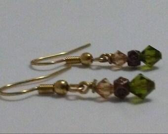 Olivine and Colorado Topaz Swarovski Crystal Earrings