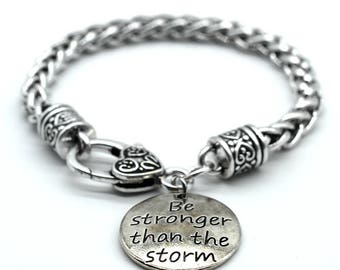 Antique Silver Tone Braid Inspiration Bracelet, Be Stronger than the Storm, Handmade in USA, SB07