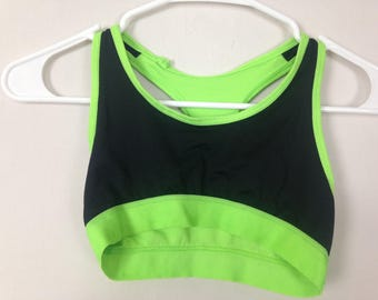 Neon green and black sports bra size XS