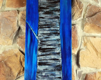 Acrylic Abstract Birch Tree on stretched canvas with blue background