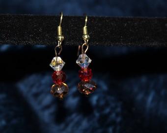 Jewel Tone Triple Drop Earring