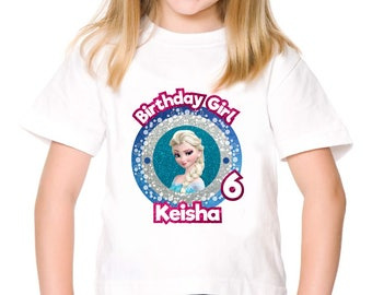 Personalized Frozen Queen Elsa Birthday Girl T shirt Party Tee Shirt Iron On Transfer Image Printable DIY - Digital File