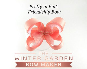 Pretty in Pink Friendship Bow, Pink Bow, Ballerina Bow, Small Bow, 3 inch Bow, Sparkly Pink Bow