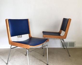 RARE vintage mid century Jens Risom La Chaise chair (2) pair