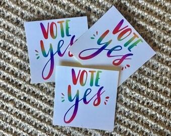 Vote Yes Sticker - Australian Marriage Equality Vinyl Sticker 6cm x 6cm