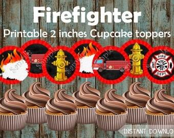 Fireman Cupcake Toppers, Firefighter Cupcake Toppers, Fire Truck Cupcake Toppers, Fireman Birthday Party, Fireman Party, Fireman Birthday