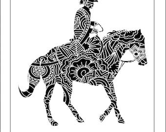 Western Horse Papercut Template - Svg Paper Cut Templates Stencil Line Art Henna Mandala Pdf Cut Files Digital Clip Art Drawing