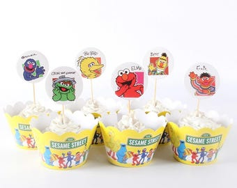 24pc Sesame Street Cupcake Toppers with Wrappers ~ Birthday Party Supplies Favors Elmo Bigbird Ernie