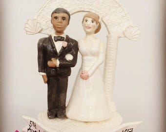 black and white couple wedding cake topper