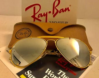 vintage Aviator Outdoorsman  Ray Ban  Mirrored  BL Bausch & Lomb usa 58mm w/ case