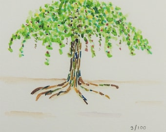 Small Tree 5x5 Watercolor Painting