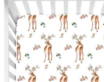 Woodland Deer Crib Sheet//Deer Nursery// Fitted Crib Sheet