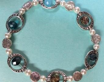 Charming! Tibetan box charm and crysal beaded bracelet