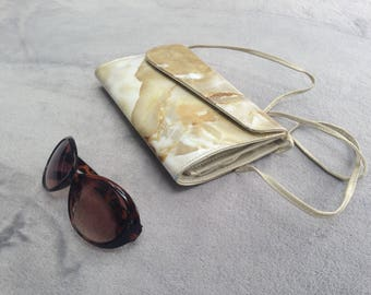 Vintage 1980s cream and beige marble effect patent shiny bag
