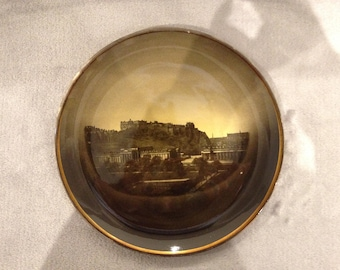 Antique Ridgway plate featuring Edinburgh castle and National Galleries. Late 1800s
