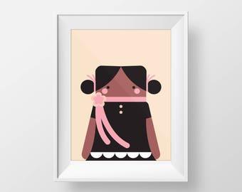 Doll print, baby girl, nursery decor, wall art printable, digital print, girls room, cute nursery art