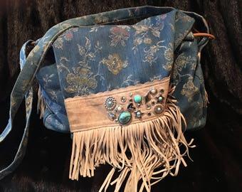 Viva Blue Cloth/Suede Jeweled/Fringed Western Style Shoulder Bag