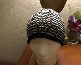 Thin  stripe black and white hat