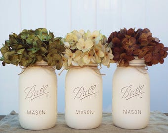 Set of 3 ivory painted mason jars,mason jar decor,farmhouse decor,rustic decor,wedding decor,country chic