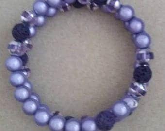 womens/teenager beaded bracelet purple silver