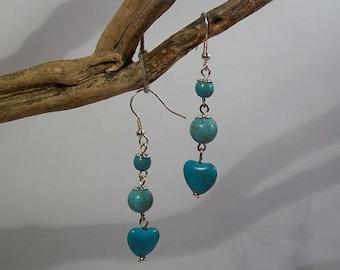 Heart Earrings turquoise beads