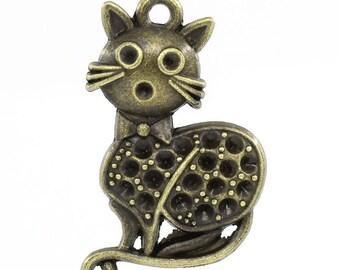 1 charm pendant metal bronze 37 x 23 mm rhinestone